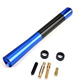 "5"" Real Carbon Fiber Aluminum Short Antenna Polished Blue Universal Screws Base"