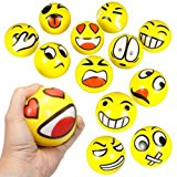 Z.H.B Assorted Big Happy Emoji Face Squeeze Balls For Stress Reducer / Anxiety Relieves (Perfect for theme party, birthday party) Fun Office Holiday Gift Stocking Stuffer