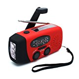 ANTOPM Solar Emergency Hand Crank AM/FM NOAA Weather Radio Self Battery Powered Hand cranked Alert Radio LED Flashlight 1000mAh Power Bank Phone Charger with USB Cable,Red