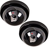 WALI 2 Pack Dummy Fake Security CCTV Dome Camera with Flashing Red LED Light With Warning Security Alert Sticker Decals
