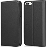 iPhone 8 Plus case iPhone 7 Plus case ZOVER Genuine Leather Case Wallet Cover with Kickstand Feature Card Slots & ID Holder and Magnetic Closure for iPhone 7 Plus iPhone 8 Plus Black