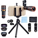 Apexel 4 in 1 12x Zoom Telephoto Lens + Fisheye + Wide Angle + Macro Lens with Phone Holder + Tripod for iPhone 7 6/6s plus SE Samsung HTC Google Huawei LG Ipad Tablet PC Laptops