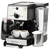 7 Pc All-In-One Espresso/Cappuccino Machine Bundle Set- (Includes: Electric Coffee Bean Grinder, Portafilter, Stainless Steel Frothing Cup, Measuring Spoon w/ Tamper & 2 Espresso Cups), Silver/Black