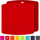"""Premium Silicone Trivet Mats / Hot Pads, Pot Holders, Spoon Rest, Jar Opener & Coasters - Our 5 in 1 Kitchen Tool is Heat Resistant to 442 °F, Thick & Flexible (7"""" x 7"""", Coral Red, Set of 2)"""