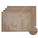 Deconovo Durable Rectangular PVC Placemats for Dining Table Heat Insulation Water Resistant Stain Resistant Table Pads Set of 4 Golden Reindeer 12x18 Inch