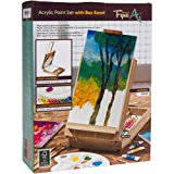 51-Piece Artist Acrylic Paint Set with Easel, 10 Nylon Acrylic Paint Brushes, 18 Acrylic Paint Tubes, 20 Wells Paint Pallet Color Mixing Tray, Painters Knife Tool and 2 Stretched Canvases by FyneArt