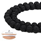BEADNOVA 8mm Natural Black Lava Rock Stone Gemstone Round Loose Volcanic Beads with Free Crystal Stretch Cord For Jewelry Making (40-42pcs)