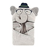 Hudson Baby Animal Face Hooded Towel for Boys, Smart Elephant