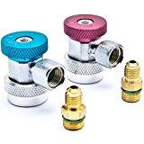 Biltek Air Condition Manifold Refrigerant Quick Coupler Adapters High & Low R134A Adjustable