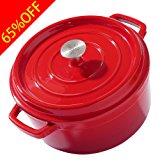 SONORO KATE Enameled Cast Iron Covered Round Dutch Oven Casserole (5 QT, Red)