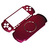 XFUNY Case for PSP 3000, Aluminum Hard Protective Case Cover Shell Guard Protector Faceplate Decal Mod for PSP 3000 Console - Red
