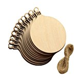Seventopia Round Blank Wood Discs Bulk with Holes for Crafts Centerpieces 20 Pieces Unfinished Wooden Christmas Cutouts Ornaments to Paint