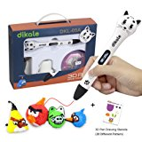 3D Pen for Kids - Dikale 05A (2017 Newest Design) 3D Doodler Drawing Printing Pen with OLED Display, 2 Free PLA Filament, 20 Stencils, Best Christmas Gifts and Toys for Boys, Girls & Adults