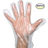 Disposable Clear Plastic Gloves,500 PCS Plastic Large Disposable Polyethylene Gloves,KINGLAKE Food Gloves for Cooking,Cleaning,Food Handling