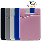 Phone Card Holder, SHANSHUI Silicone 3M Adhesive Stick-on ID Credit Card Wallet Phone Case Pouch Sleeve Pocket for Most of Smartphones(iPhone/Android /Samsung Galaxy) - 5 Pack