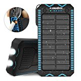 Solar Charger, X-DRAGON 15000mAh Solar Power Bank with Cigarette Lighter, Dual Super Bright LED Light Water-Resistant Dustproof Shockproof Dual USB Charger for iPhone, Samsung Galaxy and More-Blue