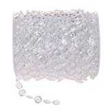 KUPOO 99 ft Clear Crystal Like Beads by the roll - Wedding Decorations (White)