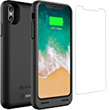 iPhone X Battery Case with Qi Wireless Charging, Alpatronix BXX 5.8-inch 4200mAh Slim Rechargeable Extended Protective Portable Backup Charger Case for iPhone X [Apple Certified Chip; iOS 11+] – Black