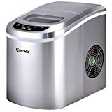 Costway Portable Compact Electric Ice Maker Machine Counter Top, Mini Cube 26lb of Ice Daily (Silver)