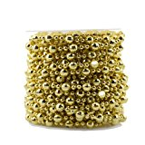 BoJia Pearl Bead Roll Faux Pearls Beads String By the Roll Faux Crystal Beads Garland 50ft ABS Cuttable for Christmas, Valentine, Exhibition, Wedding, Clothing, Costume, DIY decoration (Gold)