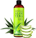 BEST Aloe Vera Gel - 99% Organic - NO XANTHAN, Absorbs Rapidly, No Residue - USA made - SEE RESULTS OR - Unique Formula with SEAWEED. Best Moisturizer for Face, Skin & Hair