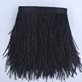 Sowder Ostrich Feathers Trims Fringe With Satin Ribbon Tape for Dress Sewing Crafts Costumes Decoration Pack of 2 yards(black)