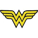 Wonder Woman DC Comics Iron On Patch - WW Yellow Letter Name Logo Applique