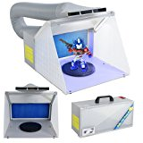 F2C Airbrush Spray Booth Kit Paint Craft Odor Extractory Hobby Spray Booth Portable w/ LED Light Turn Table Powerful Fan For Toy Model Parts