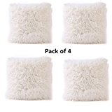 Super Soft Throw Pillow Case Cover Plush, FreshZone Christmas Pillow Covers 16x16 Xmas Pillow Case Decorative (Beige Pack of 4)
