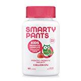 SmartyPants Kids Probiotic Complete; Probiotics & Prebiotics; Digestive & Immune Support* Gummies; 4 billion CFU, VEGAN, NON-GMO, NO REFRIGERATION REQUIRED, Strawberry Creme; 60 Count