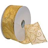 Morex Ribbon Swirl Wired Sheer Glitter Ribbon, 2-1/2-Inch by 50-Yard Spool, Gold
