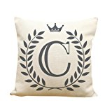 Usstore 1PC Decorative Pillowcases Letters Pattern Print Waist Throw Pillow Cover Cafe Home Decoration for Living Sofas Beds Room (C)