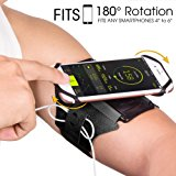 """VUP 4326455452 Armband for iPhone 8 Plus 8/7 Plus/6 Plus/6 Samsung Galaxy S8/S8 Plus/S7 Edge with Key Holder, 180 Degree Rotatable, Fits 4"""" to 5.5"""" Smartphone Armband for Running/Workout/Cycling/Gym"""