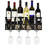 Metal Wall Mounted Wine Rack and Glass Holder with Cork Storage Decorative Kitchen Hanging Bottle Glasses Shelf Stemware for Living Room Decor