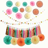 LyButty 45 Pcs Party Supplies Decorations Kit,Tissue Paper Pom Poms Flower Tissue Paper Fan Polka Dot Paper Garland Tissue Tassel Garland for Wedding ,Party ,Baby Shower, Room Decor