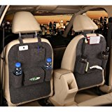 M'Baby 1pc Seat Back Car Organizer Woolen Felt Seat Back Kick Protectors for Kids, Storage Bottles, Tissue Box, Toys (Dark Grey)