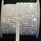 Vanpower Crystal Rhinestone Close Chain Clear Trim 1 Yard 2-Row Close Chain Trims,4mm - Silver