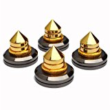 4 PCS Golden Speaker Spikes Subwoofer CD Audio Amplifier Turntable Isolation Copper Stand Feet