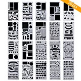 TedGem 20 Pack Journal Stencil - Plastic Planner Stencils Bullet Journal Stencil Set DIY Drawing Template Stencil for Journal/Diary/Calendar/Planner/Scrapbook, 4x7 Inch