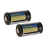 "Panasonic CR123A Lithium 3V Photo Lithium Batteries , 0.67"" Dia x 1.36"" H (17.0 mm x 34.5 mm) , black, Gold, Blue (Pack of 2)"