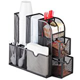 """Halter Mesh Coffee Accessories Caddy Organizer - 9 Compartments and 2 Drawers - 11.25"""" X 11.5"""" X 5.5"""""""
