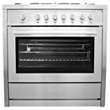 36 in. Gas Range with 5 Italian Made Burners, Oven, Broiler, Motorized Rotisserie, Lower Storage Cabinet Cosmo COS-965AG