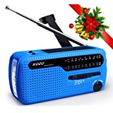 Kozo NOAA weather radio for emergency. Multiple ways to charge, Self Powered by Dynamo Hand Crank & Solar Panel, Long Antenna to Pick up reception everywhere