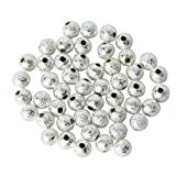 100pcs Spacer Beads Findings Stardust Silver Plated Base Round 4mm for Jewelry Making