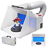 AW Portable Airbrush Paint Spray Booth Kit w/ Turn Table Extension Hose Powerful Fan For Toy Parts Model