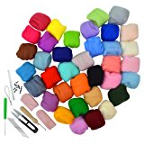 36 Colors Wool Yarn Roving With Needle Felting Starter Kit Set, Ishua Wool Fibre Needle Felting Wool for Hand Spinning DIY Craft Materials of 7 Felting Needles,12 Black Eyeballs DIY Thanksgiving Gift