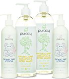 Puracy Organic Baby Care Gift Set, Calming Lotion and Natural Baby Wash, Sulfate-Free, Toxin-Free, Developed by Doctors, (Pack of 4)