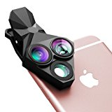 Phone Camera Lens, Stoon 3 in 1 160° Fisheye Lens & 20X Macro Lens & 0.65X Super Wide Angle Lens, Clip-on Cell Phone Lens Kit for iPhone 7/ 6/ 6s Plus/ 5S/ 4/ 4S, HUAWEI, Sony, HTC, iPad