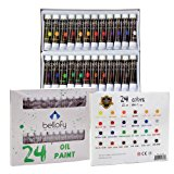 Bellofy 24-Color Oil Paint Set - 24 x 12 ml / 0.4 oz - Oil Paint Kit For Artists and Beginners - Painting Art - Artist Paint - Best Art Brand for Painting and Drawing Accessories Online.