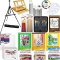 Artist Paint Set with Easel 11 x 14 Canvas Brushes Palette